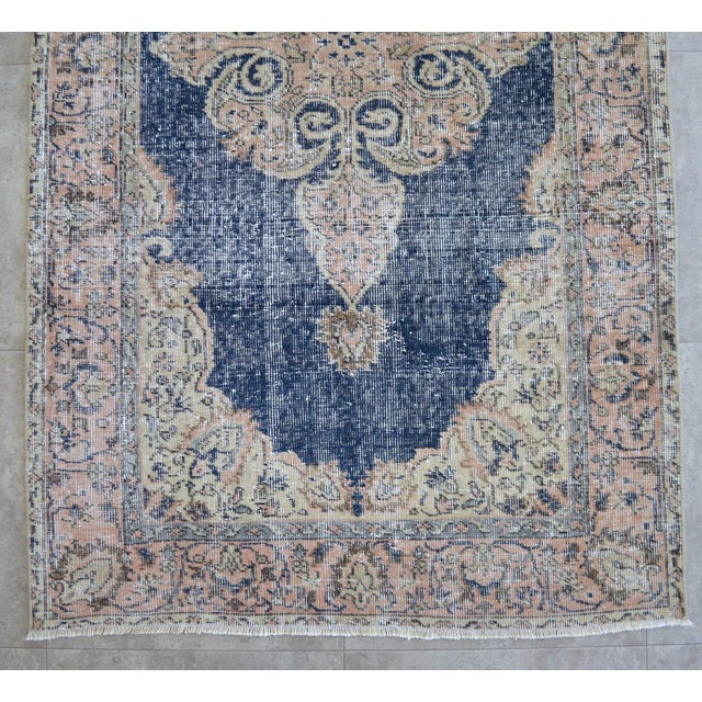 Blue Turkish Distressed Area Rug Hand Knotted Faded Oushak Rug - 3'7'' X 6'7'' For Sale - Image 8 of 11