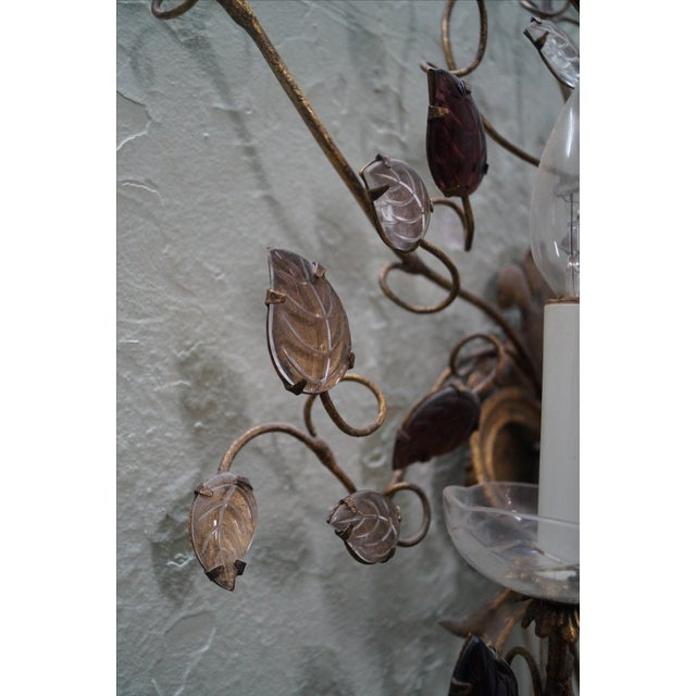 Vintage Italian Gilt Metal & Flower Wall Sconce - Image 7 of 10