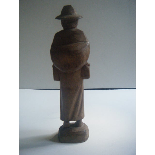 Vintage Handcarved Ecuadorian Wooden Farmer Statue - Image 3 of 4