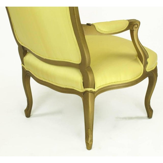 1940s Giltwood Louis XV Style Fauteuil with Saffron Silk Upholstery For Sale In Chicago - Image 6 of 8