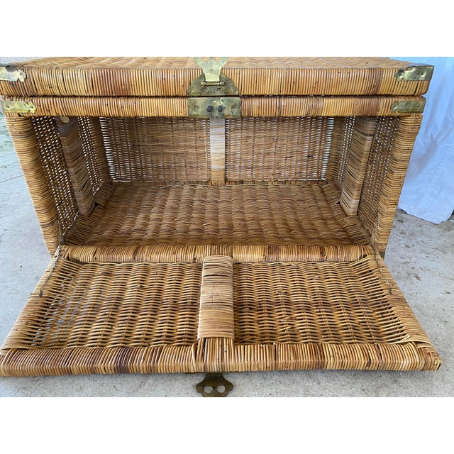 Vintage Coastal Wicker Braid Drop Down Front Trunk For Sale - Image 4 of 13
