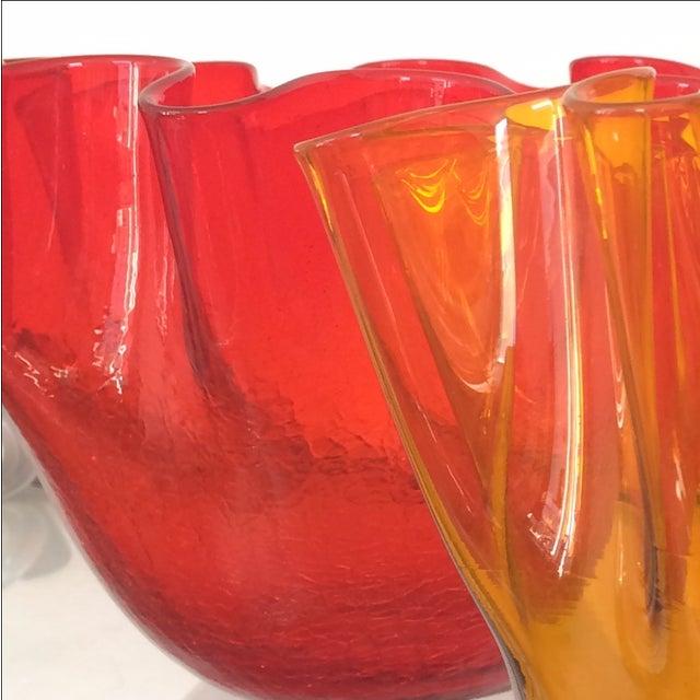 Vintage Red Blenko Crackle Glass Vase - Image 9 of 11