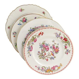 Vintage Mismatched Fine China Dinner Plates - Set of 4