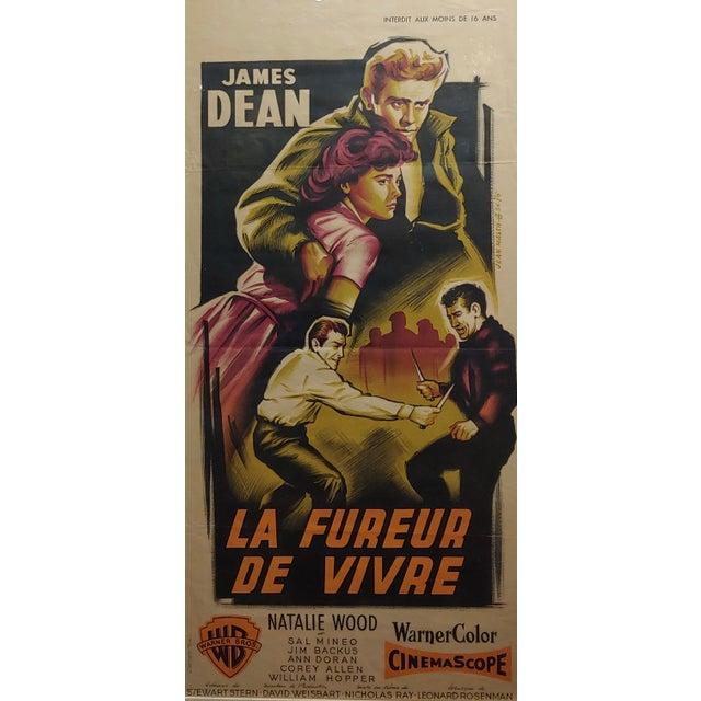 James Dean -Rebel Without a Cause -Original French Poster-c.1955 La Fureur de Vivre- French poster -half Sheet under glass...