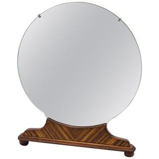 Art Deco Round Walnut Freestanding High-Boy Dresser Mirror For Sale