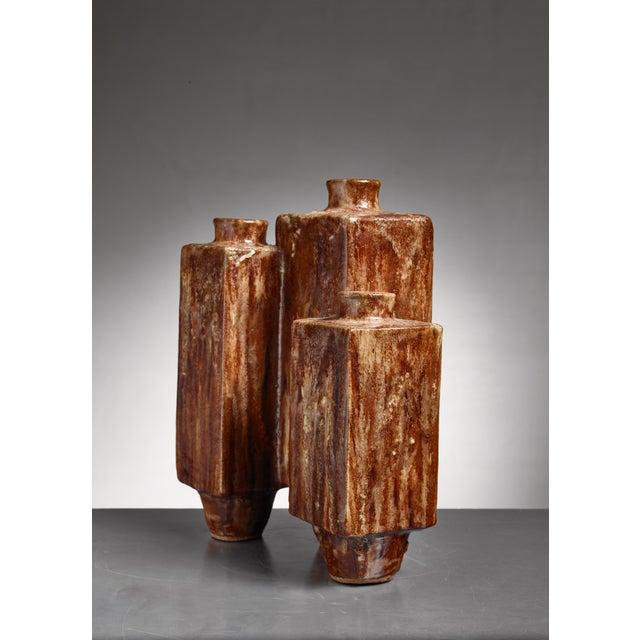 Large (48 CM / 18.9 Inch) Brown Ceramic Vase, 1970 For Sale - Image 4 of 5