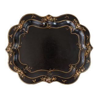 Antique 19th-Century English Papier Mache Mother of Pearl Tray For Sale