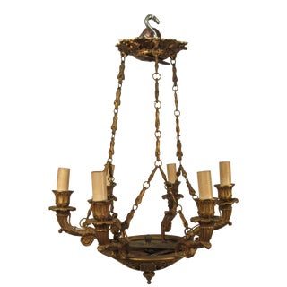 1920s French Bronze Small Classical Chandelier For Sale