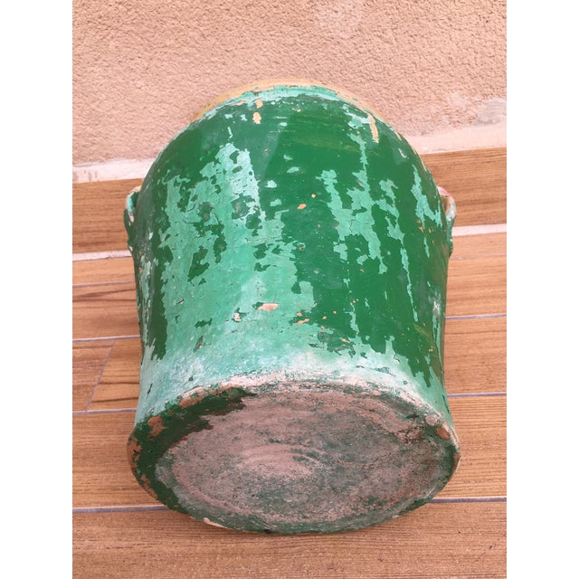 Ceramic French 19th Century Green-Glazed Castelnaudary Pot or Planter With Handles For Sale - Image 7 of 8