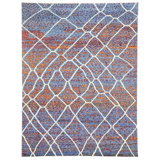 Contemporary Moroccan Postmodern Style Area Rug - 10′6″ × 13′9″ For Sale