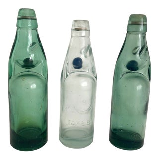 Vintage Codd Neck Soda Bottles W/ Marble Stoppers - Set of 3 For Sale