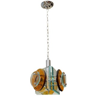Stunning Italian Glass Pendant Chandelier For Sale