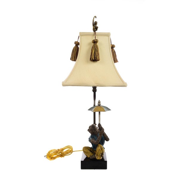 Vintage Monkey Holding Umbrella Lamps - A Pair For Sale - Image 9 of 10