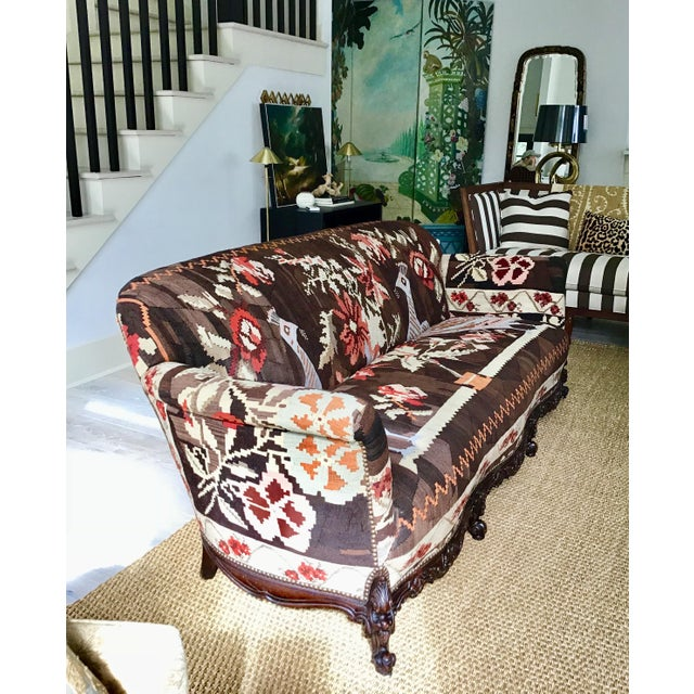 Antique French Serpentine Sofa Upholstered in Antique Karabagh Peacock Kilms For Sale In Charleston - Image 6 of 13