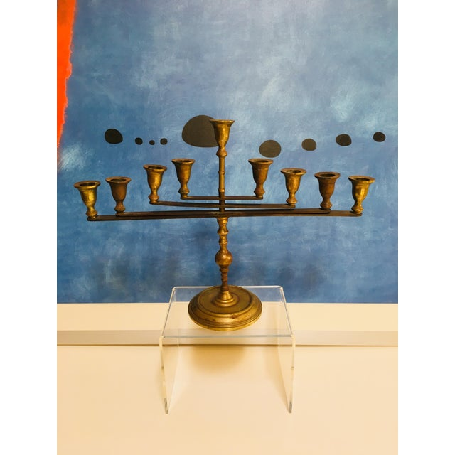 Gold Mid-Century Vintage Articulating Brass Menorah For Sale - Image 8 of 10