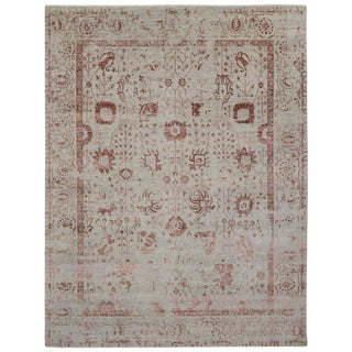 New Contemporary Oushak Area Rug With Romantic French Cottage Toile Style - 9′ × 11′8″ For Sale