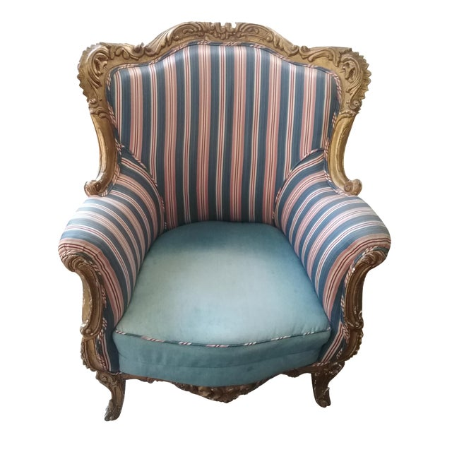 Antique Louis XIV Style Wing Chair - Image 1 of 7