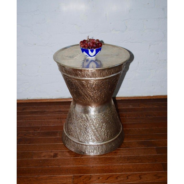 Fez Silver Metal Drum Table/Stool For Sale - Image 4 of 4