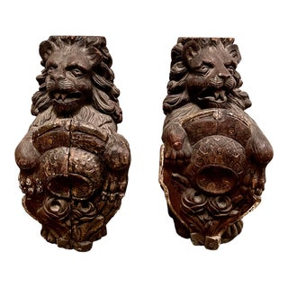 Early 19th Century English or Continental Carved Wood Lion Architectural Sections - a Pair For Sale