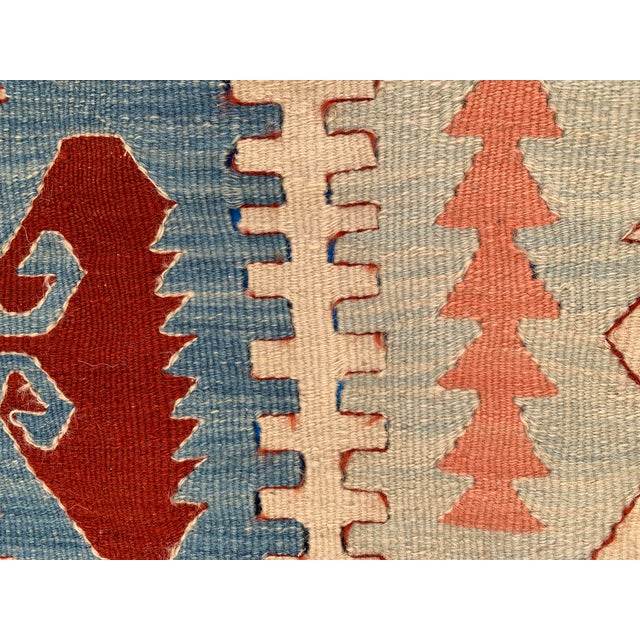 Blue Blue and Coral Kilim Rug- 3′8″ × 5′2″ For Sale - Image 8 of 10