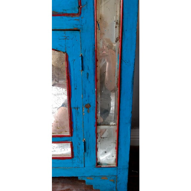 Reclaimed Wood & Antiqued Mirror Farm House Buffet - Image 7 of 11