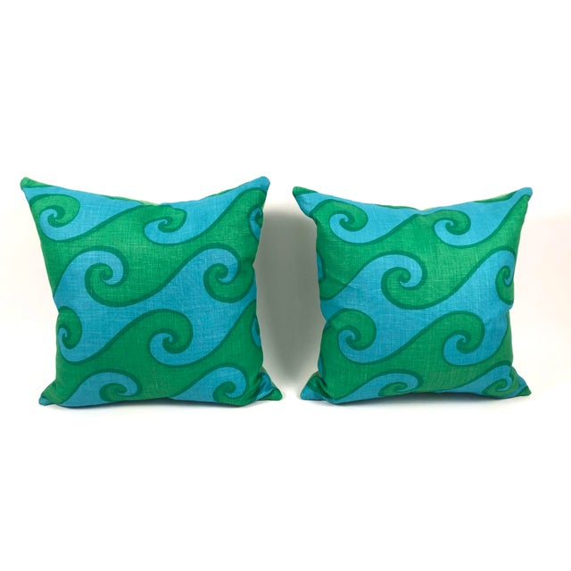 A pair of vivid blue and green wave pattern vintage hand printed linen pillows in the Sea Scroll pattern by Elenhank. 4 or...