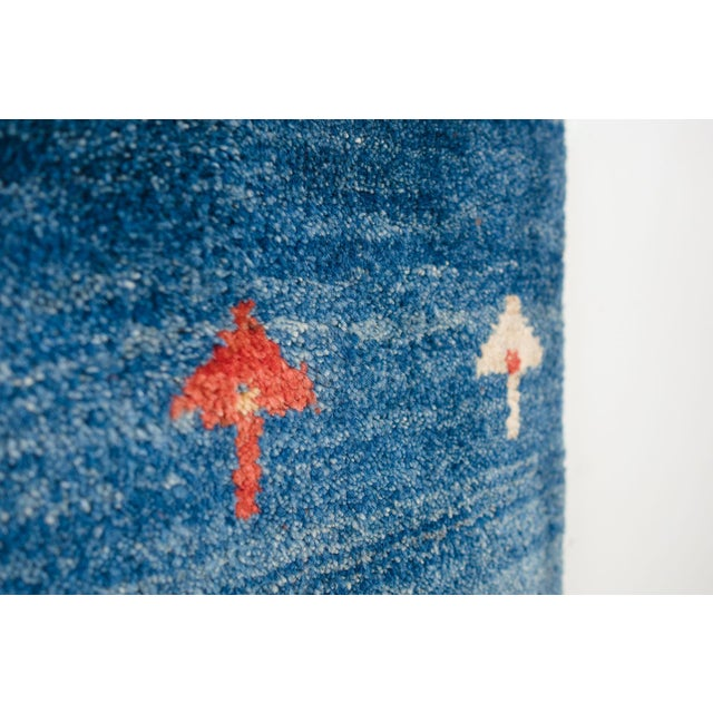 Textile Blue Persian Gabbeh Rug - 2′11″ × 9′7″ For Sale - Image 7 of 8