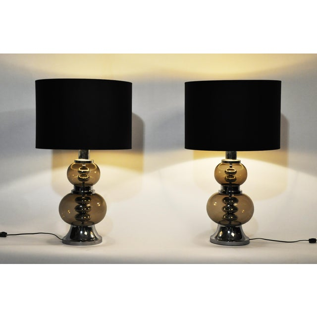 Pair of elegant glass lamps from France, c. 1970; rewired for U.S. electrical systems.