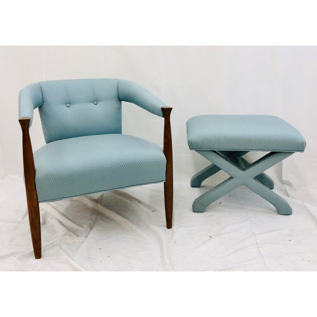 Vintage Mid Century Modern Arm Chair & Ottoman For Sale - Image 13 of 13