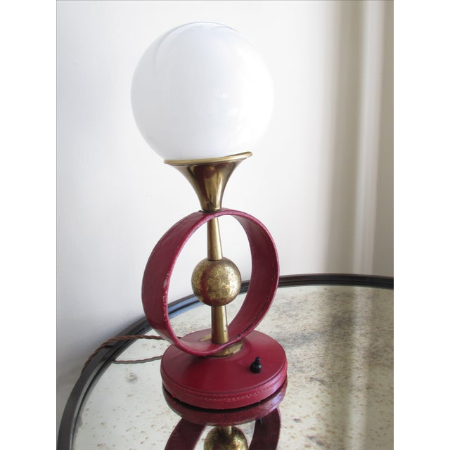 Gorgeous table lamp attributed to iconic mid century modern designer Jacques Adnet. Purchased in Paris and rewired with...