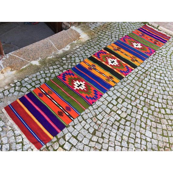 Vintage Turkish Anatolian Kilim Rug - 2' X 10' - Image 2 of 6