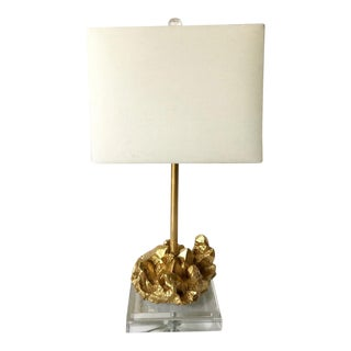 Glass and Gold Nugget Lamp For Sale