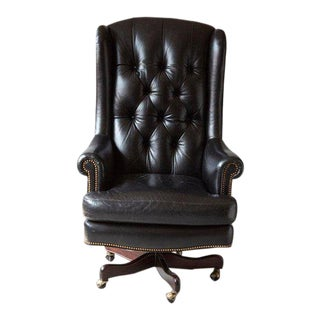 Tufted Black Leather Swivel -Tilt Executive Chair by Hancock & Moore For Sale