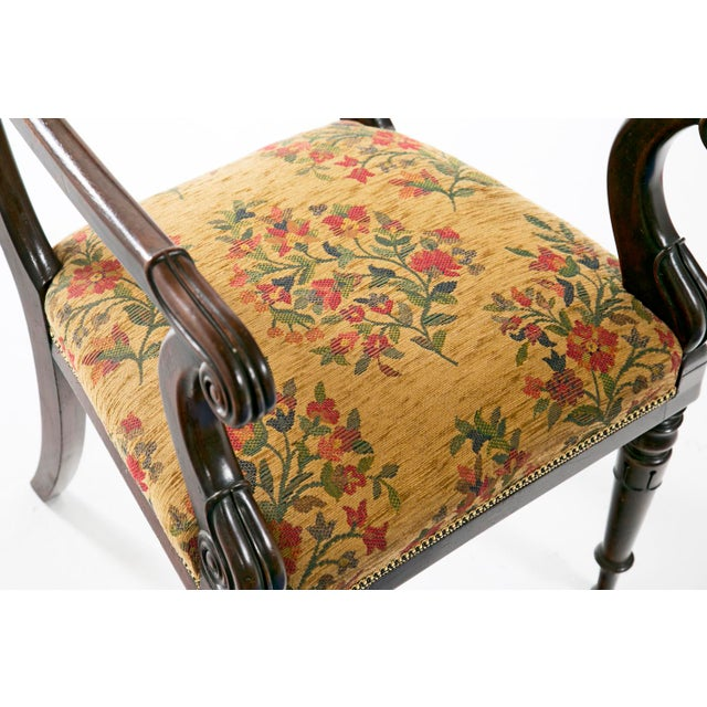 Brown French Restoration Mahogany Armchair For Sale - Image 8 of 9
