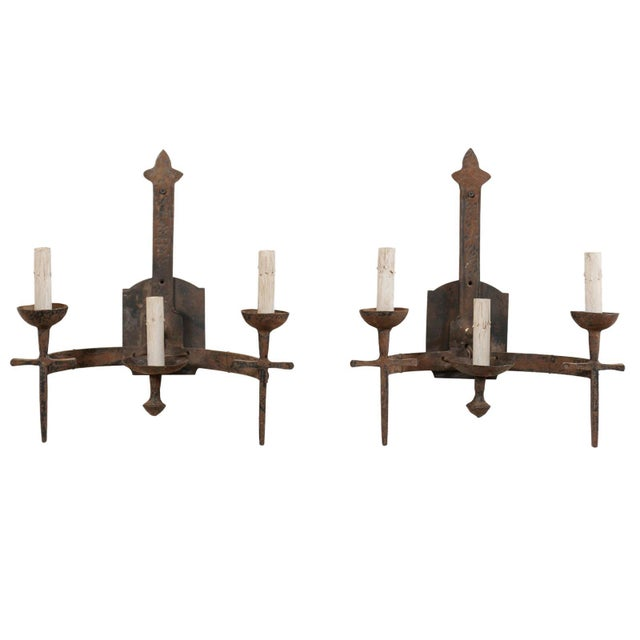 French Three-Light Mid-Century Torch-Style Iron Sconces - a Pair For Sale - Image 12 of 12