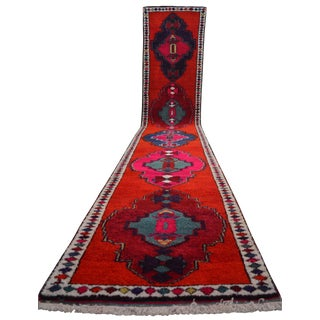 Hand Knotted Kurdish Tribal Runner Rug Long Runners- 2′11″ × 16′7″