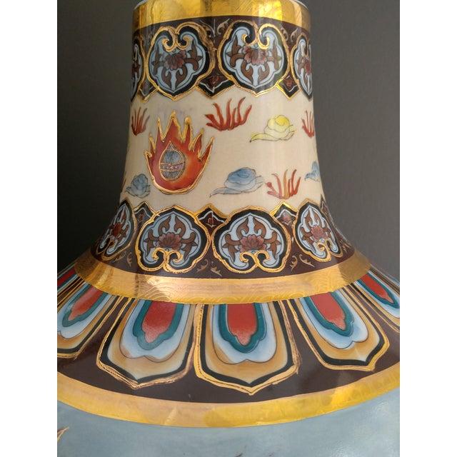 Blue Asian Modern Ceramic Good Fortune Vase For Sale - Image 8 of 9
