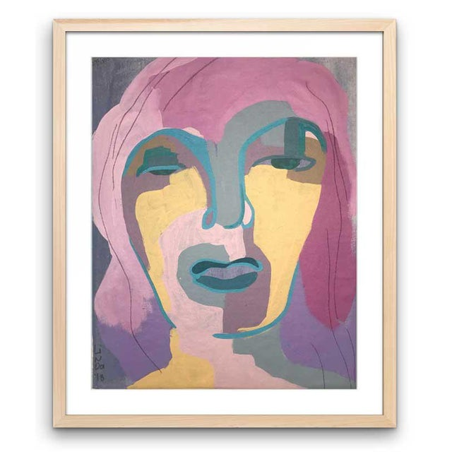 "Pink Contemporary Abstract Portrait Painting ""I Was Looking for Her"" - Framed For Sale - Image 8 of 8"