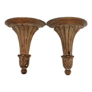 Italian Wooden Wall Shelves - a Pair For Sale