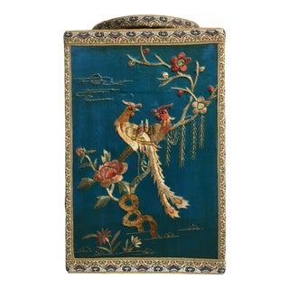 Chinoiserie Silk Embroidered Tea Caddy, circa 1920's