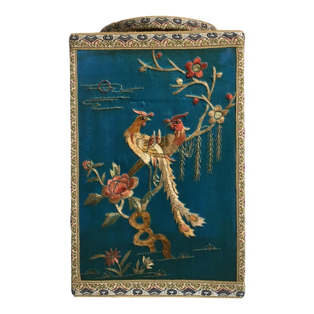 Chinoiserie Silk Embroidered Tea Caddy, circa 1920's For Sale