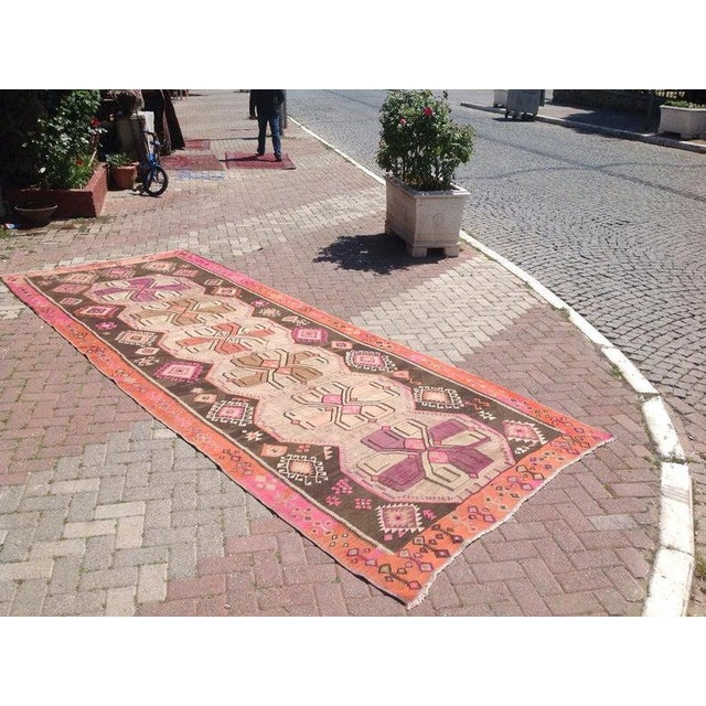 This gorgeous vintage Turkish kilim Rug was made of wool and cotton in 1960s. It`s professionally cleaned and ready to be...