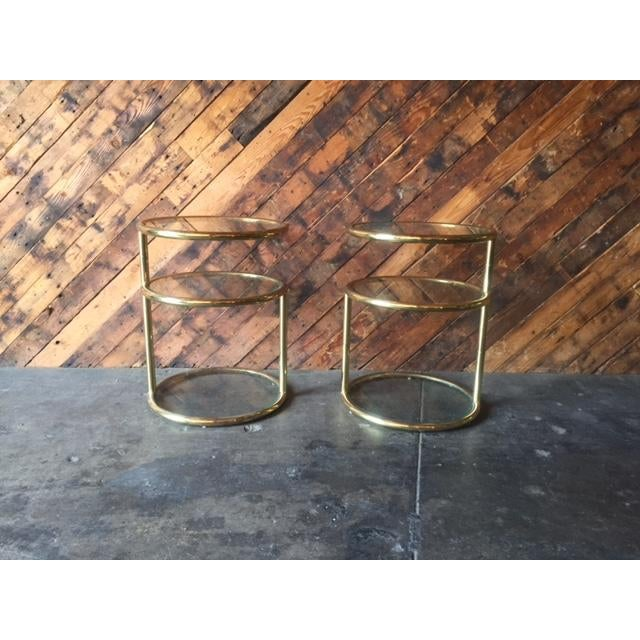Vintage Pair of Swivel Brass Glass Side Tables set of 2, brass and glass, swivel top detail, beautiful design Length:17.5...