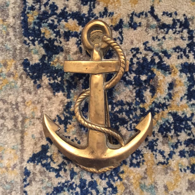 Nautical Coastal Beach House Anchor & Rope Brass Door Knocker - Image 2 of 11