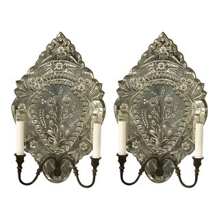 Pair of Venetian Mirrored Wall Sconces For Sale