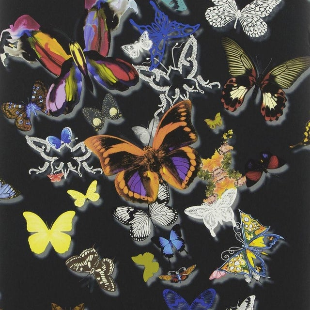 English Christian Lacroix Butterfly Parade Oscuro Wallpaper Sample For Sale - Image 3 of 4