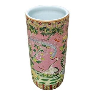 Vintage Chinese Famille Rose Medallion Porcelain Umbrella Stand For Sale