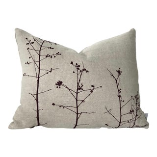 Botanical Hand Printed Linen Pillow - Berries For Sale