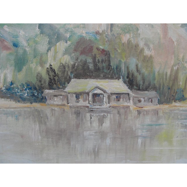 Vintage Cabin on Lake Impressionist Oil Painting on Board For Sale - Image 4 of 9