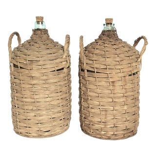 Antique European Rattan Demijohn Bottles - a Pair For Sale